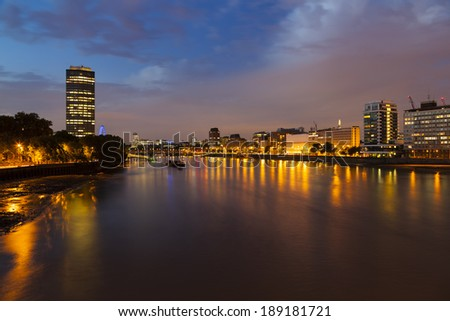 View from Vauxhall Bridge to the center of London at night