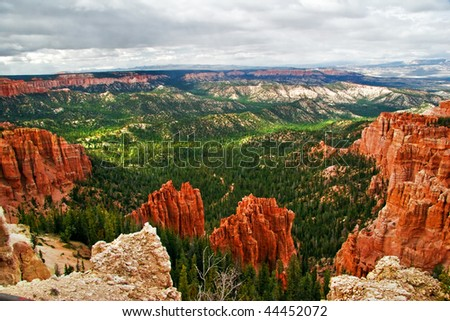 View from viewpoint of Bryce Canyon. Utah. USA - stock photo