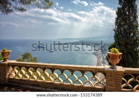 View from Villa Communale in Taormina, Sicily  - stock photo