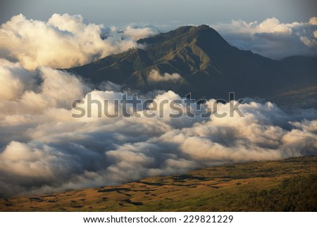 View from Volcano Rinjani, cloudy sunset view - stock photo