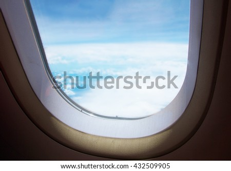 View from Window airplane With sky sunny background - Travel Concept