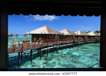 view from window of Sipadan water village resort at Mabul Island.