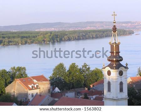 view from zemun, belgrade panorama, danube, old christian church.. - stock photo