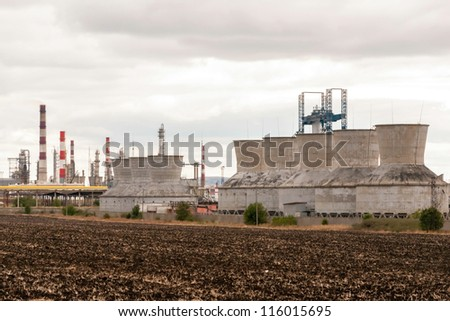 View gas processing factory - stock photo