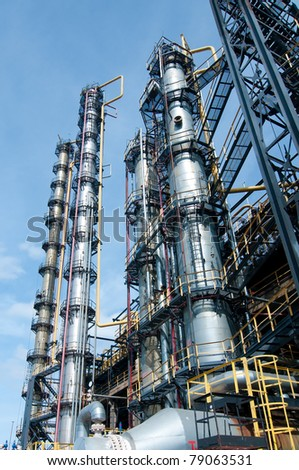 View gas processing factory. gas and oil industry - stock photo