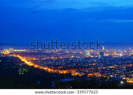 View Hatyai city,Songkhla Southern Thailand at night.