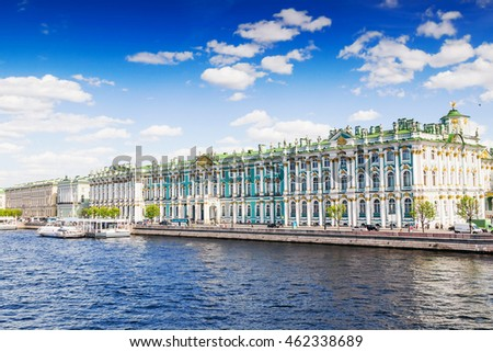 View Hermitage palace and Neva river under blue sky, Saint Petersburg, Russia. Famous touristic place.