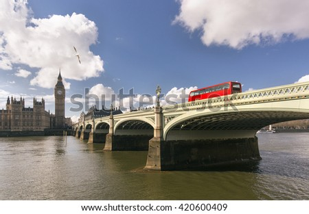 View houses of Parliament, Big Ben and Westminster bridge - stock photo