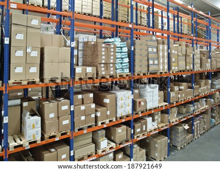 View in a warehouse with a full high-bay. - stock photo
