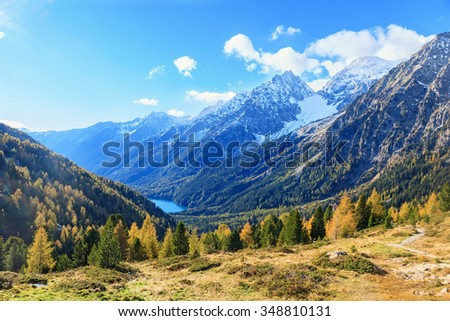 View in alp mountains - stock photo