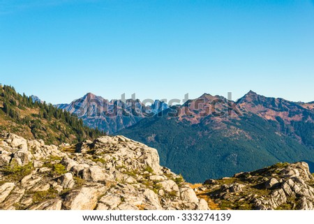 view in Artist point hiking area,scenic view in Mt. Baker Snoqualmie National Forest Park,Washington,USA. - stock photo