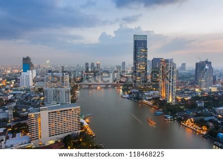 view in bangkok city at chao phaya river - stock photo