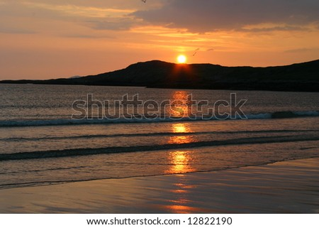 View in ireland of a beach at sunset - stock photo
