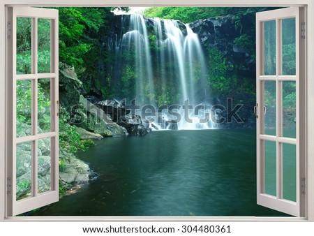 View in open window to  famous Chunjeyun Waterfall of Jeju island in South Korea - stock photo