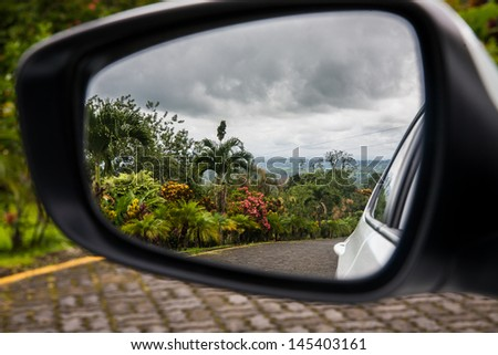 View in the side mirror - stock photo