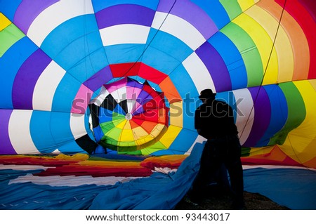 View inside a large balloon - stock photo