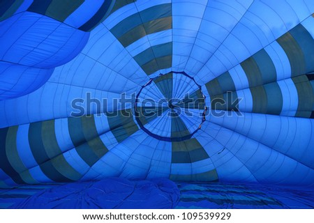 View inside a large Blue hot air Balloon before the Take Off - stock photo
