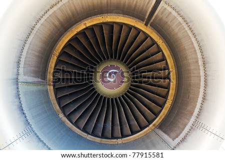 view inside a large high power jet engine