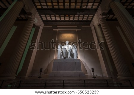 View inside Lincoln Memorial, Washington DC