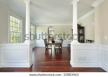 View into dining room in new construction home