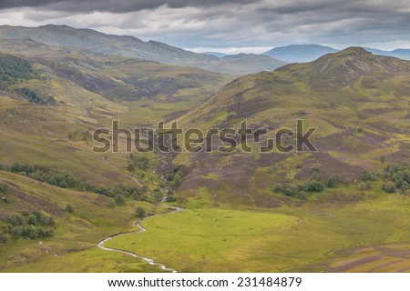 View into the Highlands with purple heath around Loch Ness, Scotland - stock photo