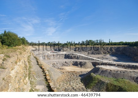 View into the mining of the quarry - stock photo