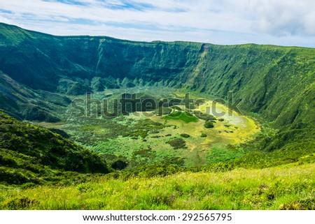 View into volcanic crater, Calderia do Faial, Faial island, Azores - stock photo