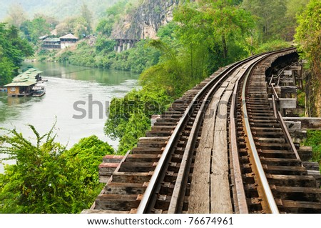 View is beautiful on Thai Railway. - stock photo