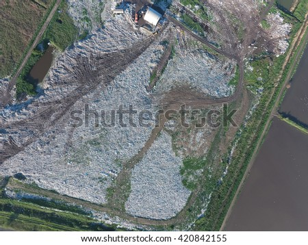 View landfill bird's-eye view. Landfill for waste storage. View from above. - stock photo
