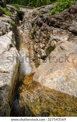 View Looking Down Waterfall Canyon Gorge - Silver Cascade in White Mountains, NH - stock photo
