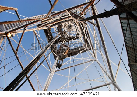 View looking up to the travelling blocks from the drill floor. - stock photo