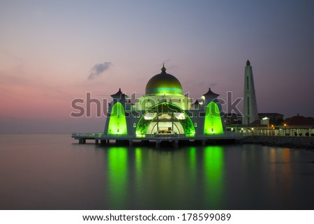 view Malacca Straits Mosque during sunset - stock photo