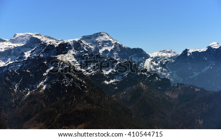 View near Kasberg hill in the Alps