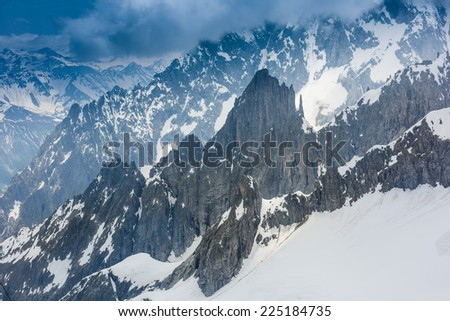 View near Mont Blanc mountain. Alps - stock photo