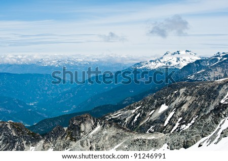 View North from Whistler Mountain - stock photo