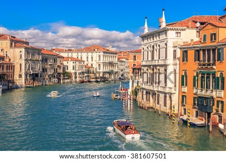 View North-West from Puente de la academia along the Grand Canal, Venice, Italy