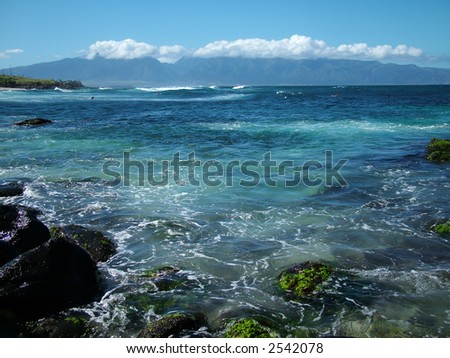 View of a bay at Paia townl on Maui