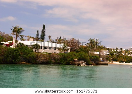 View of a Bay Waterfront and Cloudy Skies on Island of Bermuda, Vintage Romantic Look