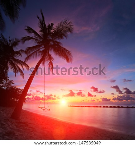 View of a beach with palm trees and swing at sunset, Kuredu island, Maldives, Lhaviyani atoll - stock photo