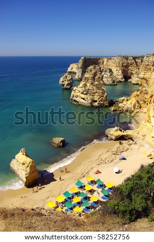 View of a beautiful beach in Algarve, Portugal, in a hot summer day - stock photo