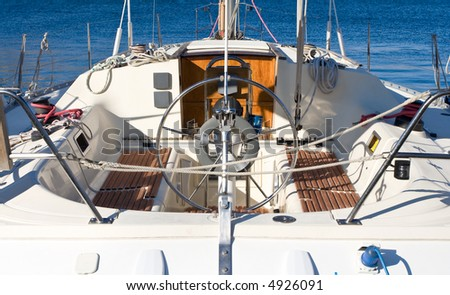 View of a beautiful sailboat from rear - stock photo