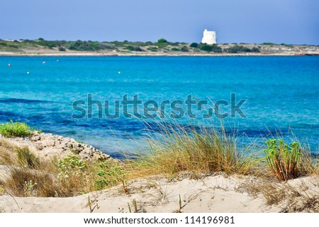 View of a beautiful seaside near Gallipoli's town in Salento, Apulia. Italy. - stock photo