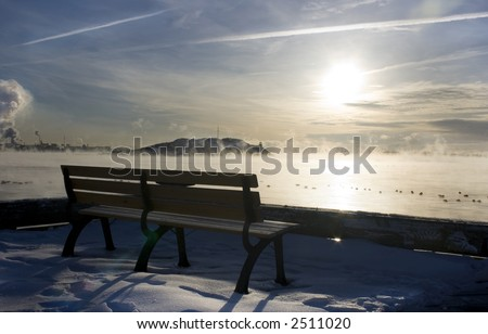 View  of a Beautiful winter morning on Halifax Harbour - stock photo