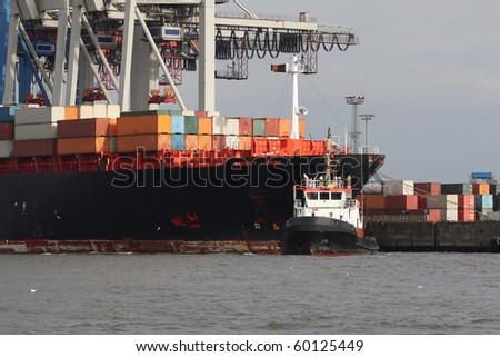 view of a big container ship in a harbor 1