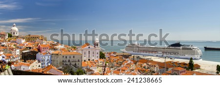 View of a big cruise ship docked in Lisbon, Portugal. - stock photo