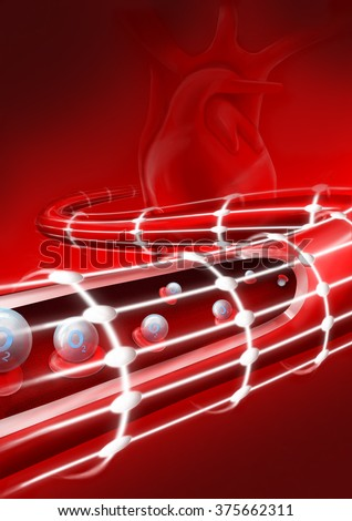 View of a blood vessel, showing the movement of the red blood cells and erythrocytes carrying oxygen to the tissues. Section, blood vessel artery, vein. Heart. The flow of blood inside an artery. O2.  - stock photo