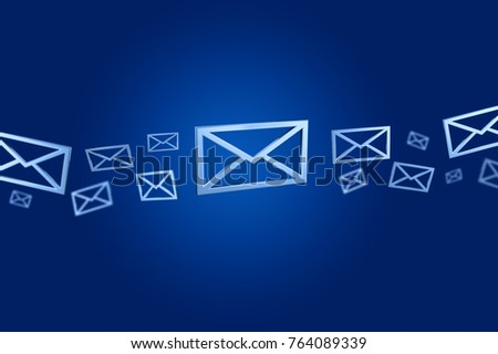 View of a Blue Email symbol displayed on a color background - 3D rendering