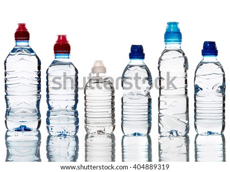 View of a Bottle of water isolated on a white background