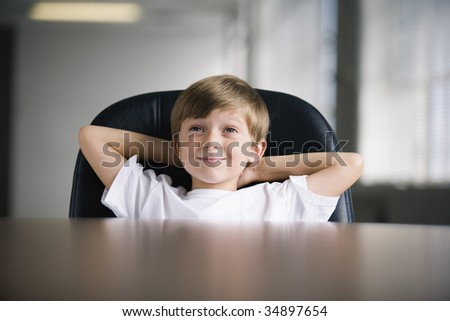 View of a boy smiling. - stock photo