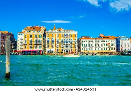 View of a buildings situated on edge of the guidecca channel in italian city venice